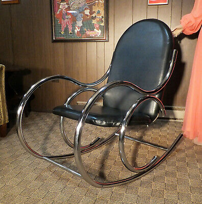 Vintage 1960's CHROME Thonet Rocking Chair DECO Mid Century CLEAN Black Vinyl