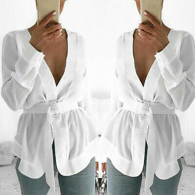 Sexy Women Autumn Casual Long Sleeve V-neck Solid Belt Lace Up Loose Long Blouse