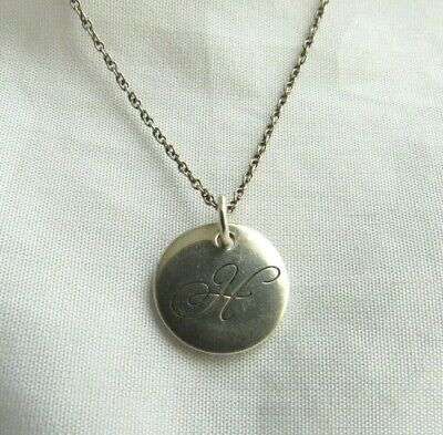 "Tiffany & Co Sterling Silver Initial Disc ""H"" Initial Pendant Necklace"