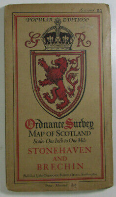 1928 Old OS Ordnance Survey Popular Edition One-Inch Map 51 Stonehaven & Brechin
