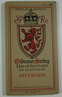 1929 Old OS Ordnance Survey One Inch Popular Edition Scotland Map 37 Inverness