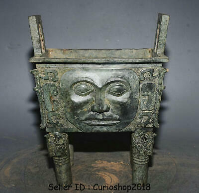 """12.8"""" Antique Chinese Bronze Ware Dynasty Palace People Face Ding Incense Burner"""