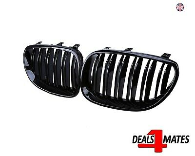 For Bmw 5 Series M5 E60 E61 M Look Kidney Grill Grille Gloss Black Dual Slat