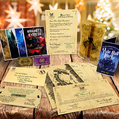 Harry Potter Hogwarts Collectors Christmas Pack All Letters Maps And Tickets