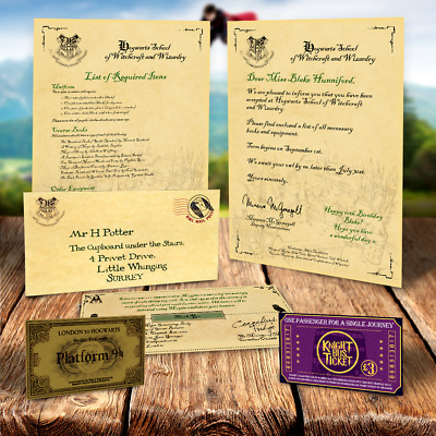 Harry Potter Hogwarts Acceptance Letter Personalised Gift & 9 3 4 Ticket Xmas