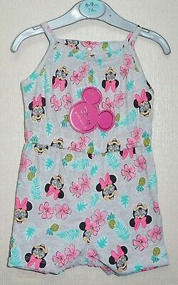 Brand New Ex-Primark Baby Girls Minnie Mouse Grey Playsuit Ages 0-3,3-6,6-9 Mnth