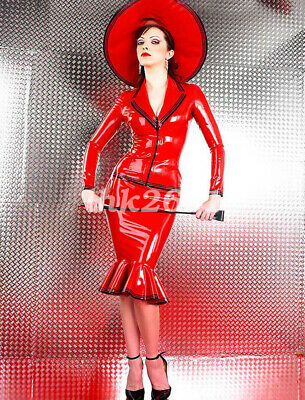 100% Latex Rubber Unisex Red&Black Ruffle Tight Dress Sexy Kleid Suit S-XXL