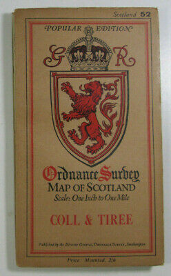 1927 Old Vintage OS Ordnance Survey Popular Edition One-Inch Map 52 Coll & Tiree
