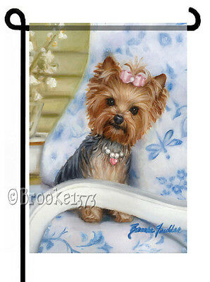 YORKIE painting GARDEN FLAG Dog Yorkshire Terrier hat box SHOES bag pearls purse