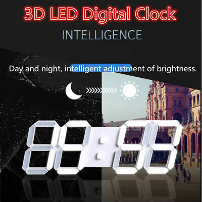 USB 3D Modern Digital LED Wall Clock Timer Decor 24/12 Hour Display Alarm Snooze