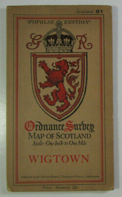 1924 Old Vintage OS Ordnance Survey Popular Edition One-Inch Map 91 Wigtown