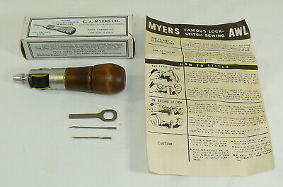 Vintage C.A. Myers Co. Famous Lock Stitch Leather Sewing Awl Chicago, IL. Crafts