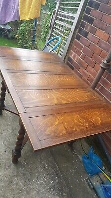 Antique Rustic Solid Oak Extending Dining Table (2.6m) and 6 Oak Chairs