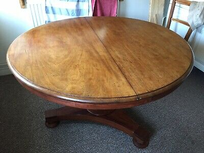 Antique Victorian Round Mahogany Loo Table Tilt Top Bun Feet
