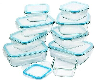 Glass Food Storage Container With Lids 18 Pc set Airtight Odour Stain Resistant
