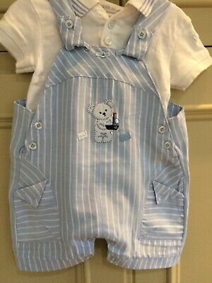 COCO COLLECTION Baby Boy Pale Blue Velour Dungaree Set BNWT 5028