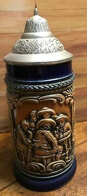 Antique Vintage German Beer Stein Pewter Lid Made West Germany