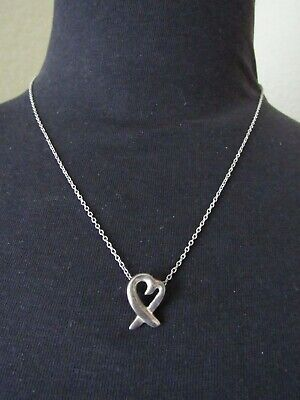 Tiffany & Co Sterling Silver Paloma Picasso Loving Heart Pendant Necklace