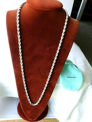 "Rare Tiffany & Co. Sterling Silver 29""  Twist Rope Chain 5 mm Wide 75.3 Grams"