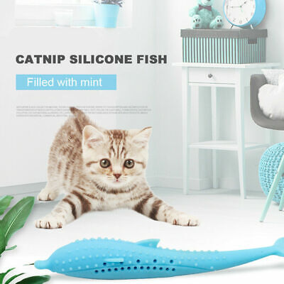 Pet Cat Toothbrush Toy Fish Shape Catnip Flavor Silicone Molar Stick Teeth Clean