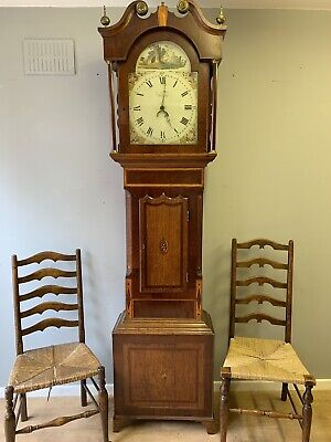 Antique English 19thC 30 Hour Mahogany Bell Striking Grandfather Longcase Clock
