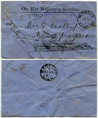 BOER WAR 1901 OHMS WITMOSS STATION CDS to BEDFORD CAPE CENSORED FAULTS