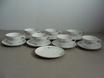 7 Florenteen Fine China Cups & 8 Saucers In The Fantasia Pattern, Japan