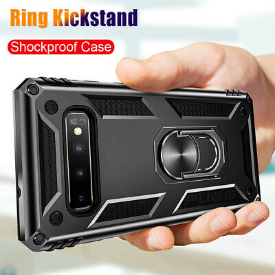 Military Armor Ring Holder Case Samsung Galaxy S10 Plus Note 10 Screen Protector