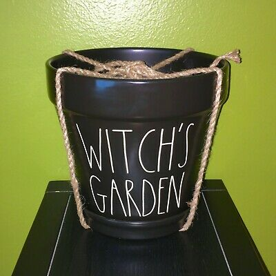 "New RAE DUNN Halloween LL ""WITCH'S GARDEN"" Black Large 8"" Planter Pot By Magenta"