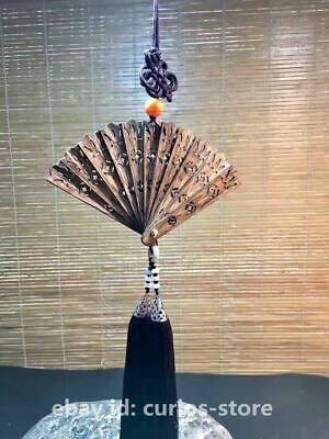 8CM Chinese Agarwood Wood Carving Hollow Out Small Hand Folding Wood Fan Pendant