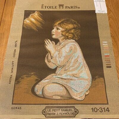 UNWORKED Cotton Tapestry Needlepoint Canvas, Child Praying - 36 x 47cm