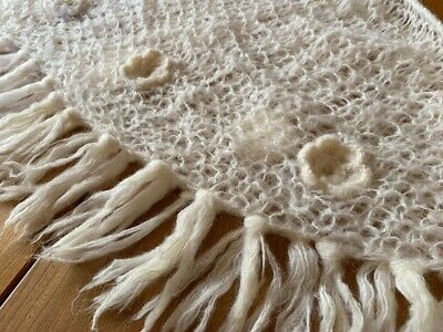 Gorgeous 1970s Vintage Homemade Hand Knitted Mohair Shawl 170 x 85cm