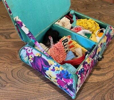Vintage 1940s Fabric Sewing Basket & Contents Ric Rac, China, Lace, Thimble etc
