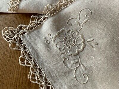 12 x Vintage Antique Pure Linen Table Napkins with Whitework Embroidery 46x46cm