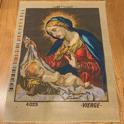 UNWORKED Cotton Tapestry Needlepoint Canvas, Virgin Mary & Jesus - 38 x 47cm