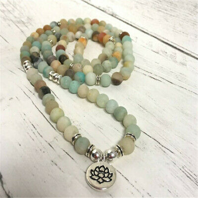6mm Frosted Amazonite Stone 108 Beads Pendant Bracelet Healing