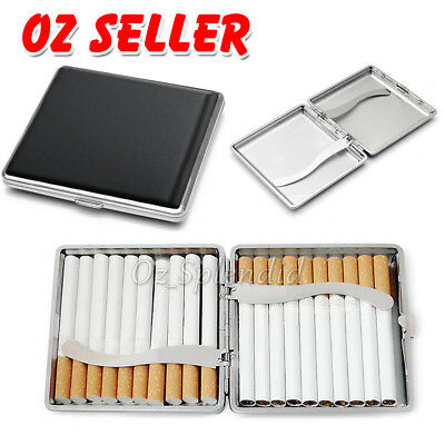Stainless Steel Silver Cigarette Case Tobacco Pocket Pouch Holder Box Cigar OZ