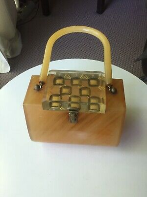 Stunning Vintage Carved Lucite Bakelite Butterscotch Tortise Box Purse Plastic