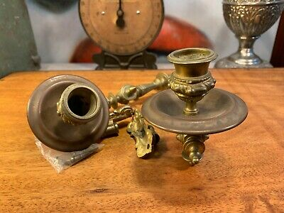 Pair of Antique English Art Nouveau Brass & Copper Candle Piano Wall Sconces