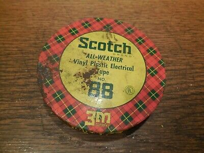 NOS Scotch 3M All Weather Vinyl Plastic Electrical Tape No.88 with Metal Can