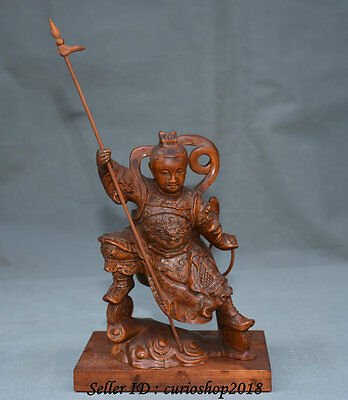 "9"" Chinese Boxwood Wood Carved Dragon Nazha Na Cha the Great God Weaponry Statue"