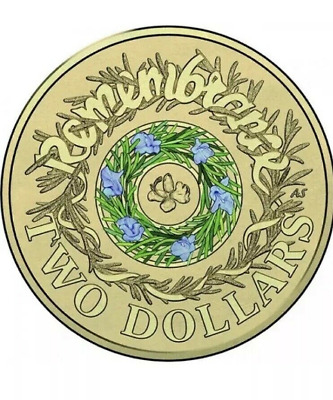 2017 Australia Remembrance Day Rosemary UNC 2 Dollars Coin in Capsule