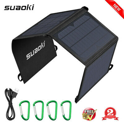 21W Foldable Solar Panel Charger 2-USB TIR-C Power Bank Camping Hiking Battery