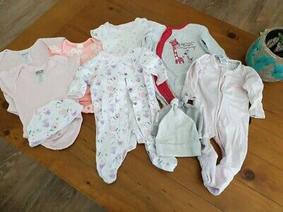 New & used newborn baby clothes bundle. Pink theme girl 0000