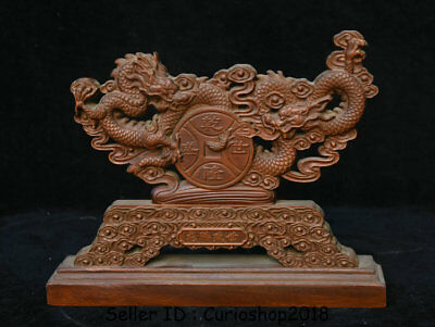 "10"" Old Chinese Boxwood Wood Hand Carved Dynasty Palace Dragon Screen Statue"