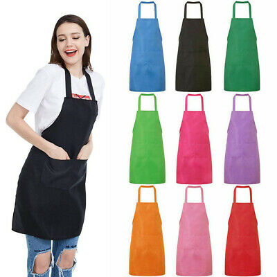 UK Plain Apron with Front Pocket for Chefs Butchers Kitchen Cooking Baking