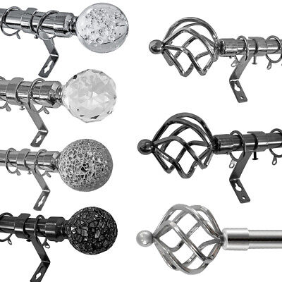 Chrome Extendable Metal Curtain Pole Poles 28mm Includes Finals Rings Fittings