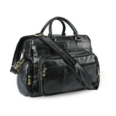 Black Large Mens Leather 14''Laptop Business Briefcase Shoulder Bag Travel Tote
