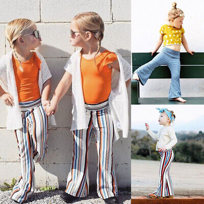 Kid Baby Girl Casual Wide Leg Pant Leggings Toddler Stripe Bottoms Trousers 1-6T
