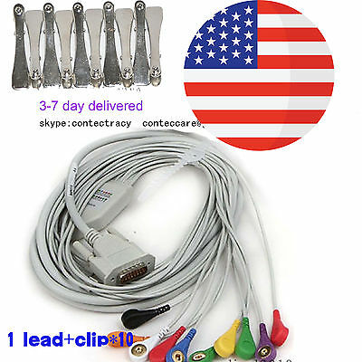 USA Snap Banana Type ECG EKG Machine Cable 12 lead wire Electrocardiograph,clip